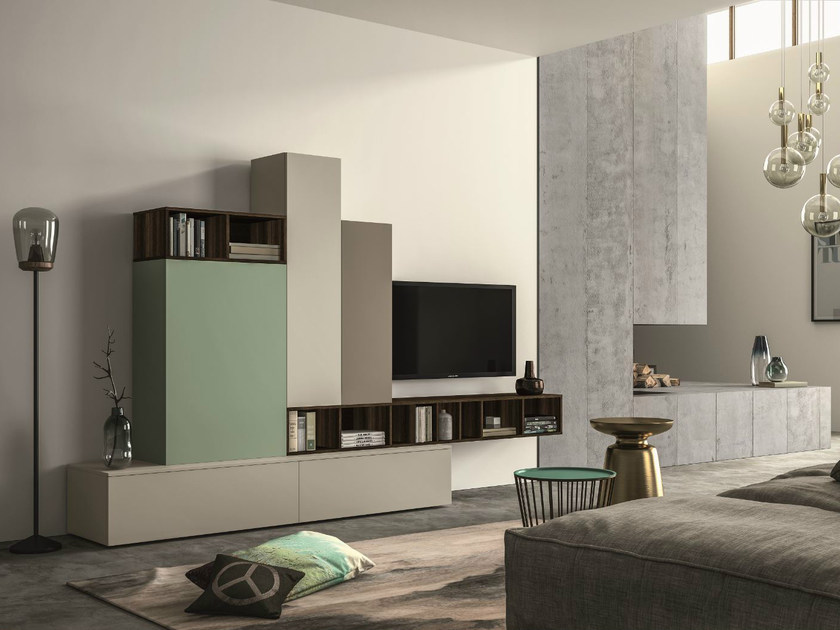 Sectional storage wall SLIM 107 by Dall'Agnese