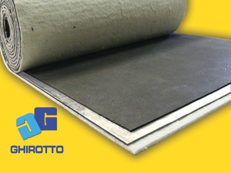 Sound insulation and sound absorbing felt with lead-laminate PIOMBOPAV ROLL DUO by GHIROTTO