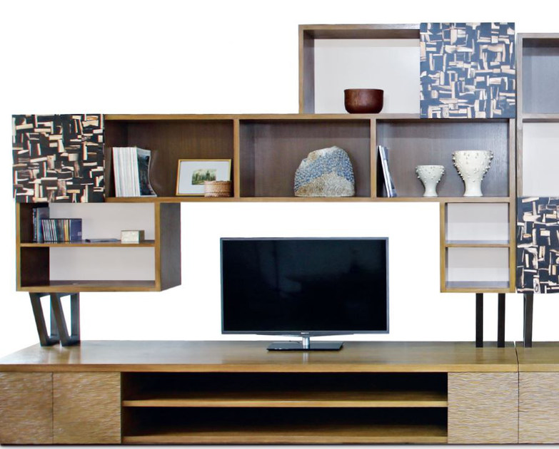 Wooden TV wall system PUSTAKA by WARISAN