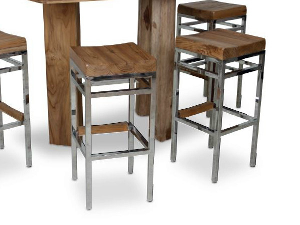 Wooden barstool with footrest ARAK by WARISAN
