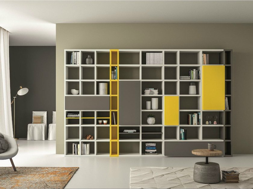 Lacquered bookcase SPEED P by Dall'Agnese