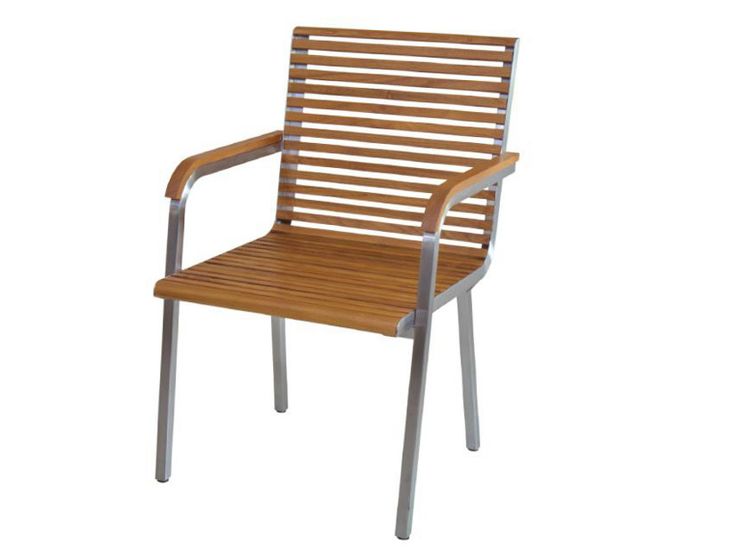 Aluminium and wood garden chair with armrests GARIS | Chair with armrests by WARISAN