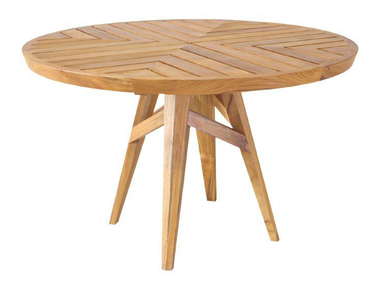 Round teak dining table NEO ANGULO | Round table by WARISAN
