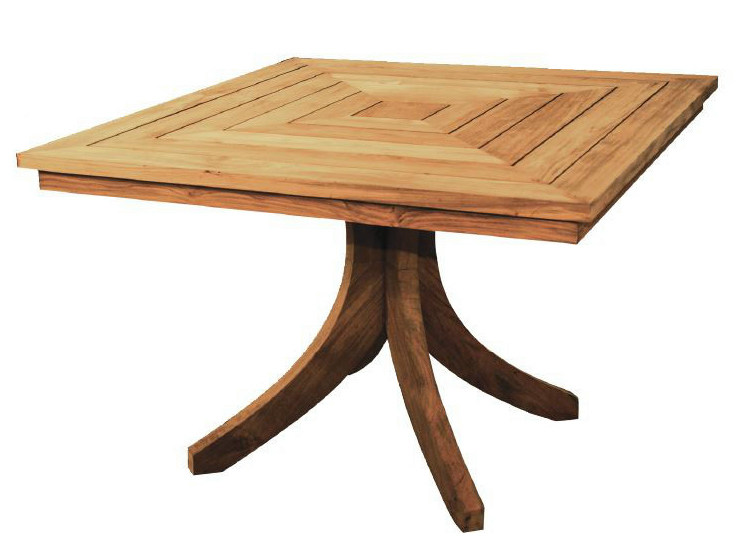 Wooden garden table with 4-star base SPLAYED | Square table by WARISAN