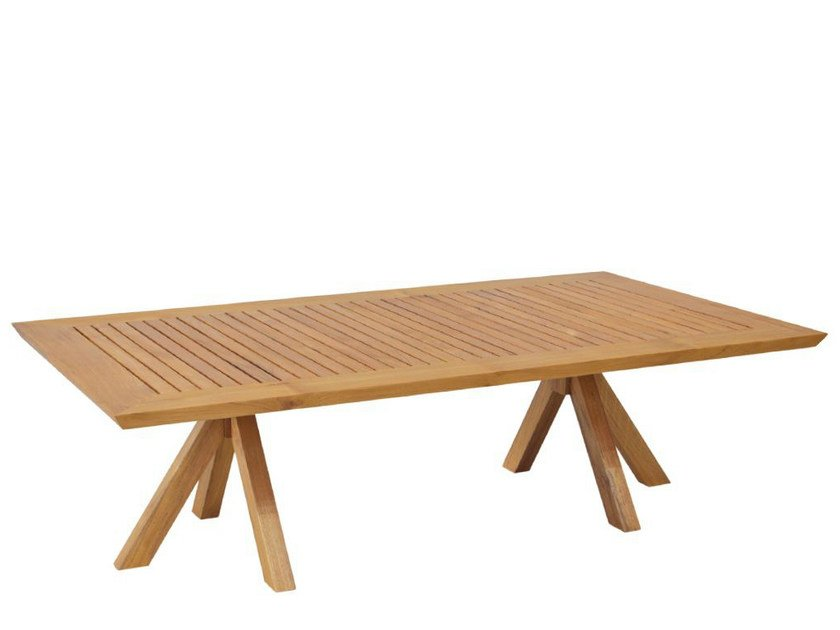 Rectangular wooden garden side table JALAN | Rectangular coffee table by WARISAN