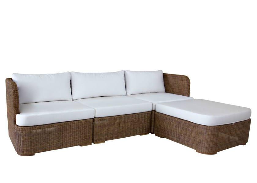 3 seater rattan sofa with chaise longue TEABU | Sofa by WARISAN
