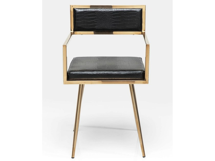 Upholstered leather chair with armrests JAZZ by KARE-DESIGN