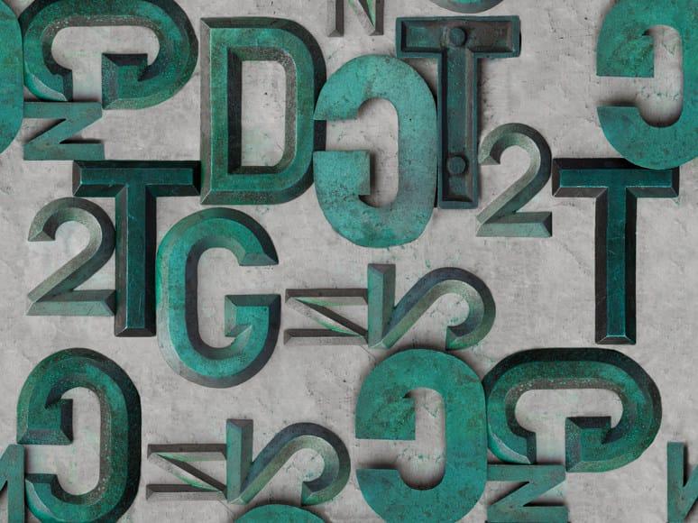 Trompe l'oeil writing wallpaper BRONZO by Wall&decò