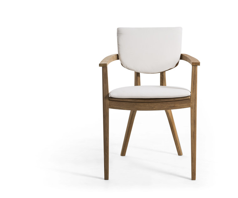 Upholstered teak garden chair with armrests DIUNA | Garden chair by OASIQ