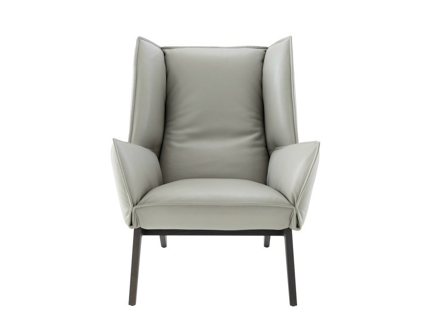 Leather armchair with armrests TOA | Leather armchair by Ligne Roset
