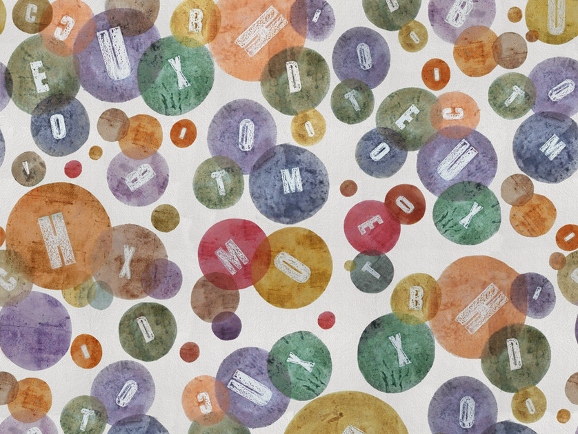 Dotted writing wallpaper CHARMS by Wall&decò