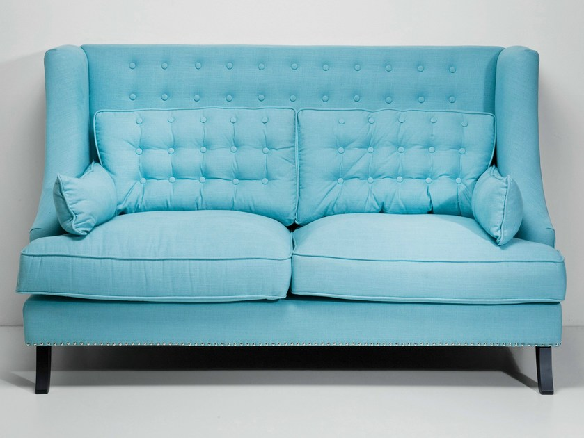 2 seater high-back fabric sofa VEGAS LIGHT BLUE | Sofa by KARE-DESIGN