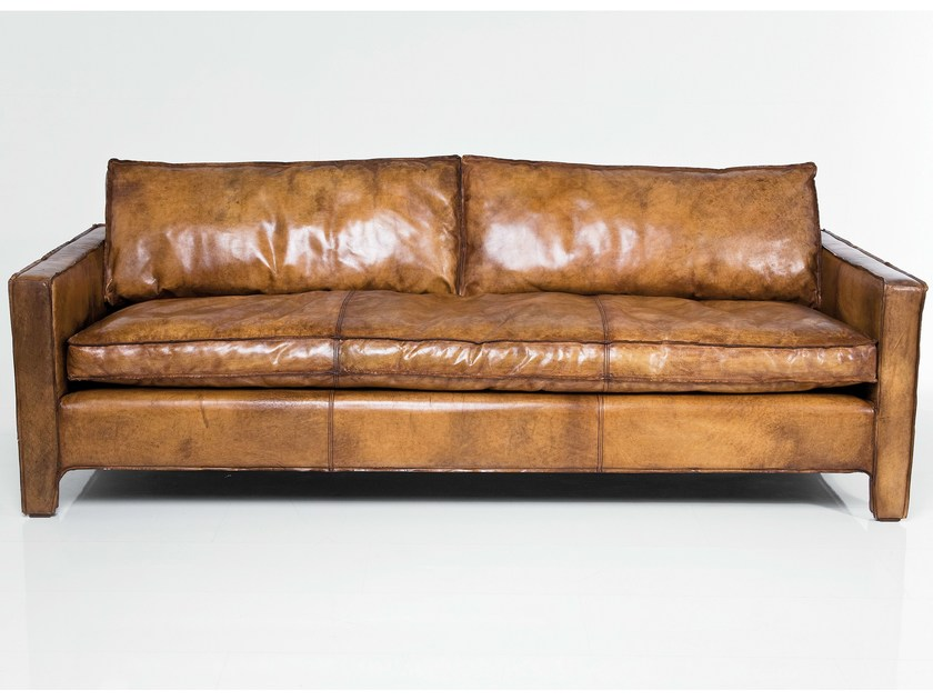 3 seater leather sofa COMFY BUFFALO BROWN by KARE-DESIGN