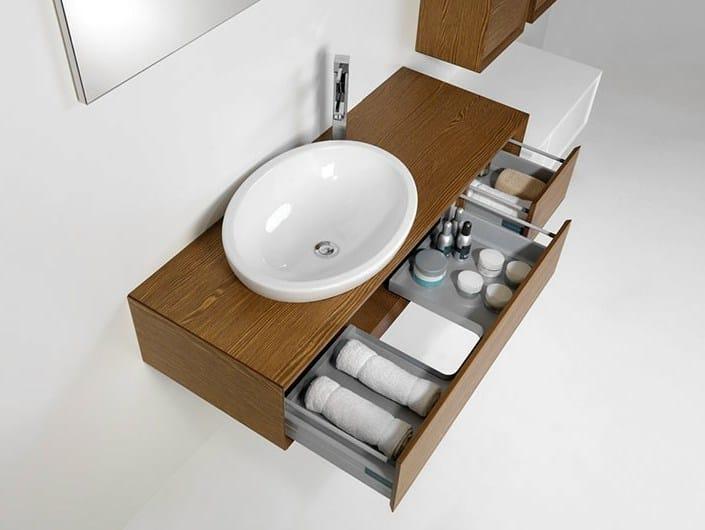 Single vanity unit with mirror LU.04 by Mobiltesino