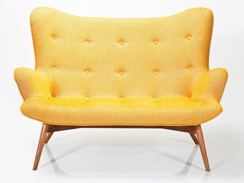 2 seater high-back fabric sofa ANGELS WINGS RHYTHM MUSTARD by KARE-DESIGN