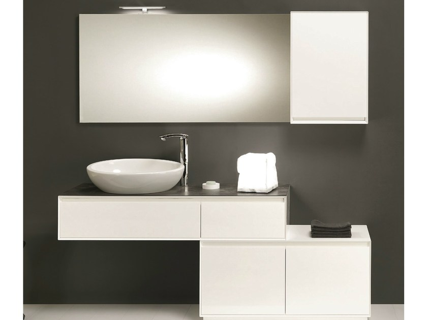 Wall-mounted vanity unit with drawers LU.25 by Mobiltesino