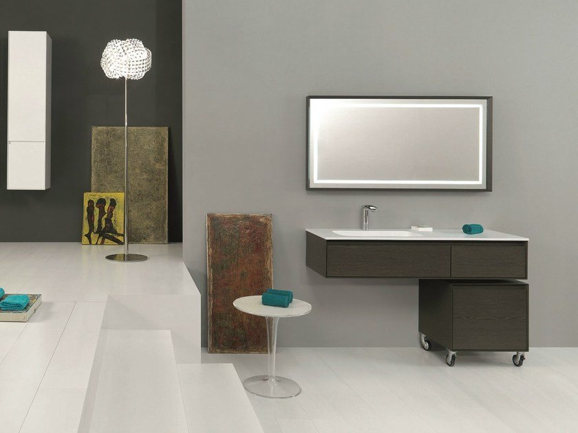 Vanity unit with cabinets with drawers LU.13 by Mobiltesino