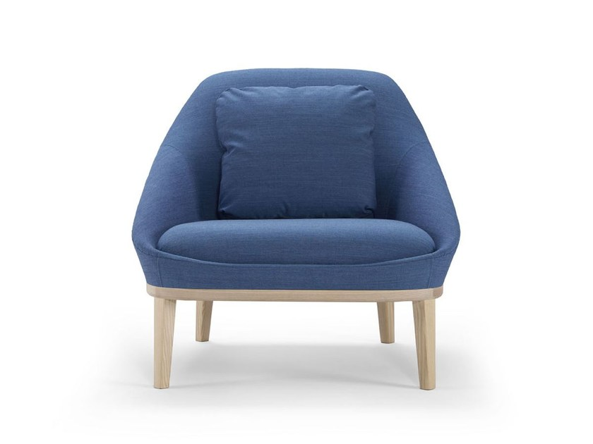 Upholstered fabric easy chair EZY WOOD   Easy chair by Offecct