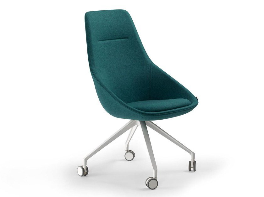 Upholstered fabric chair with casters EZY HIGH | Chair with casters by Offecct