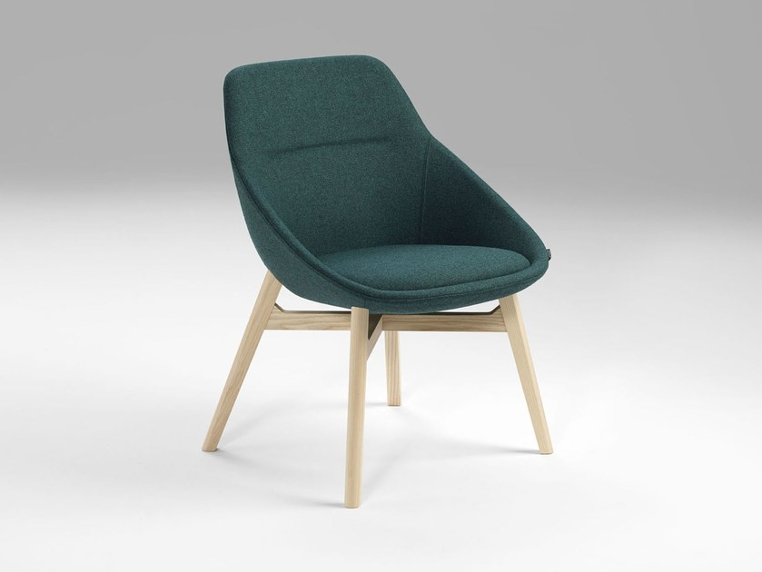 Upholstered fabric chair EZY WOOD LOW by Offecct