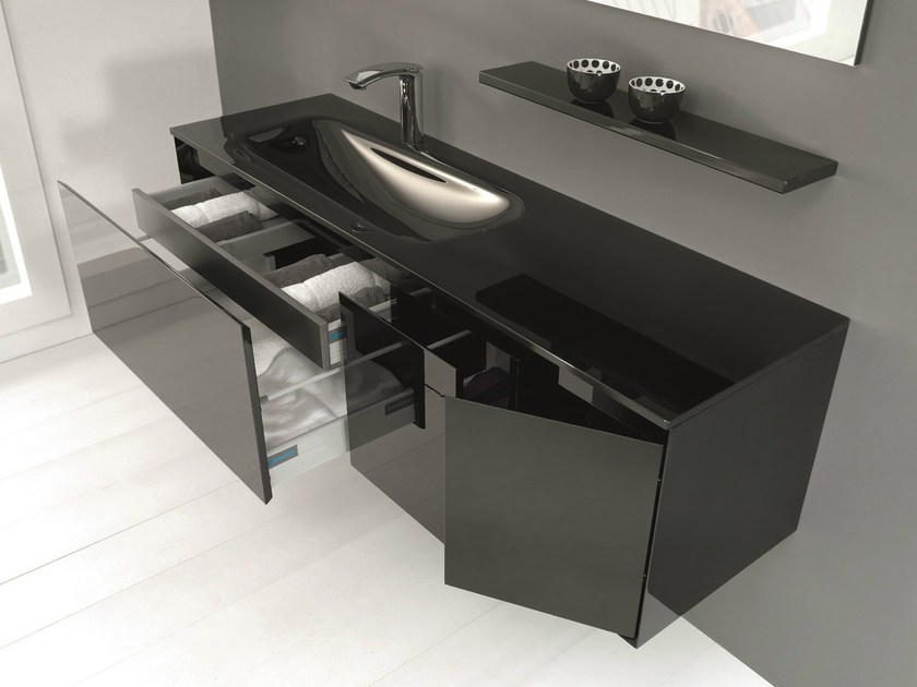 Vanity unit with doors with drawers LU.22 by Mobiltesino