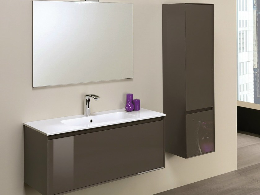 Single vanity unit with cabinets LU.09 by Mobiltesino