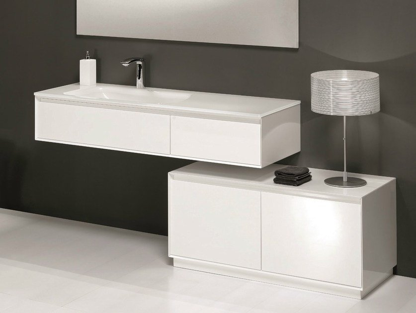 Lacquered vanity unit with drawers LU.24 by Mobiltesino