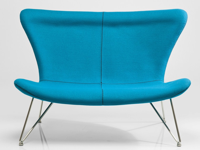 2 seater high-back fabric sofa MIAMI TURQUOISE by KARE-DESIGN