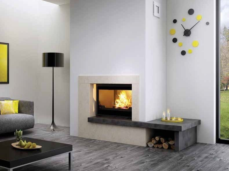 Wood-burning built-in wall-mounted fireplace ATEN by CHEMINEES SEGUIN