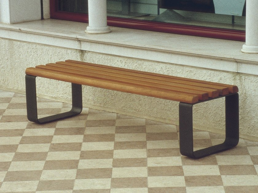Backless steel and wood Bench POSADA by Tegolaia