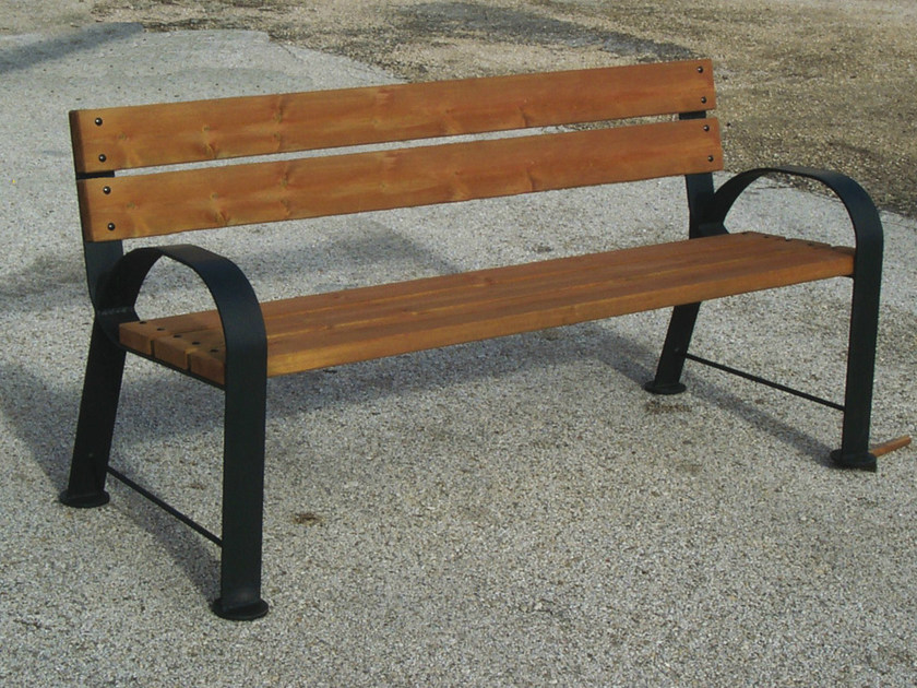 Steel and wood Bench with armrests with back CALLEJA by Tegolaia