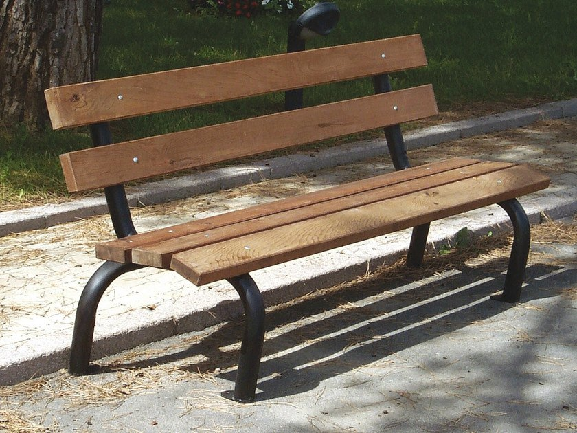 Steel and wood Bench with back CARIOCA by Tegolaia