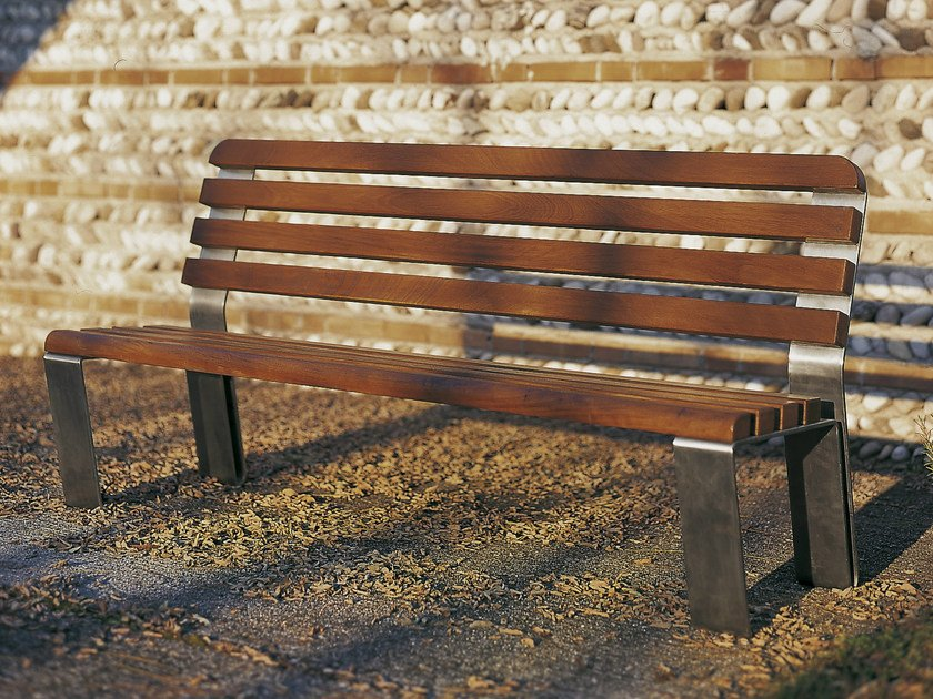 Steel and wood Bench with back RAMBLAS by Tegolaia