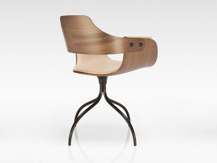 Swivel trestle-based plywood chair SHOWTIME | Plywood chair by BD Barcelona Design