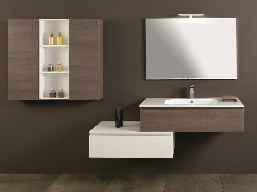 Walnut vanity unit with drawers HD.02 by Mobiltesino