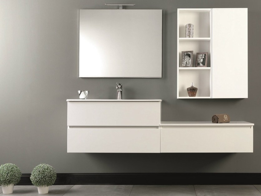 Wall-mounted vanity unit with drawers HD.03 by Mobiltesino