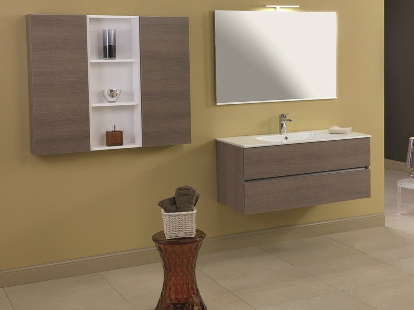 Walnut vanity unit with drawers HD.04 by Mobiltesino