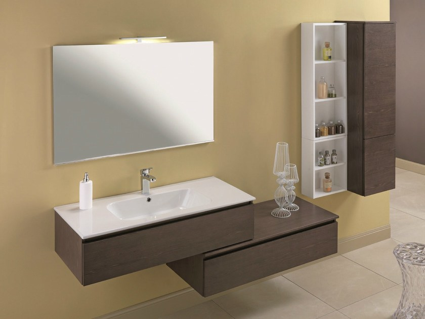Single vanity unit with cabinets HD.05 by Mobiltesino