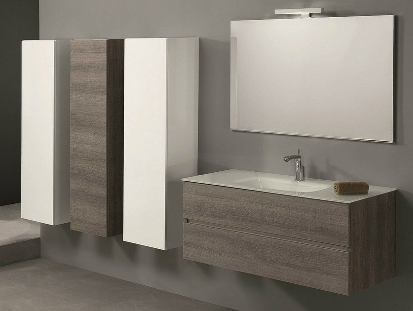 Wall-mounted vanity unit with drawers HD.07 by Mobiltesino
