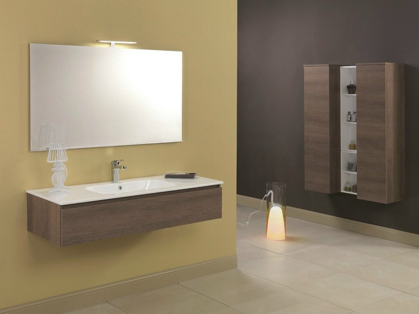 Walnut vanity unit with drawers HD.08 by Mobiltesino