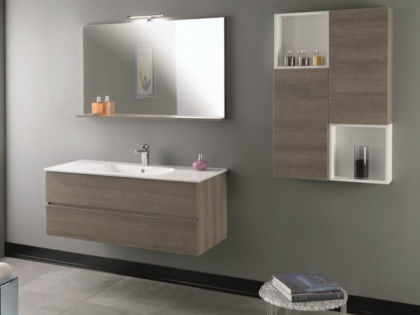 Wall-mounted vanity unit with drawers HD.10 by Mobiltesino
