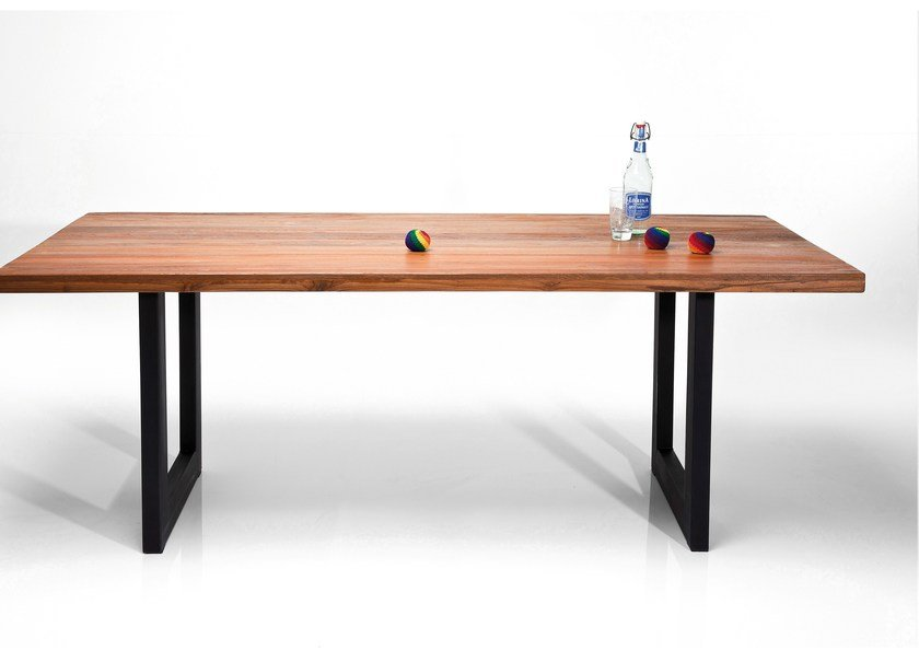 Rectangular steel and wood table FACTORY | Rectangular table by KARE-DESIGN