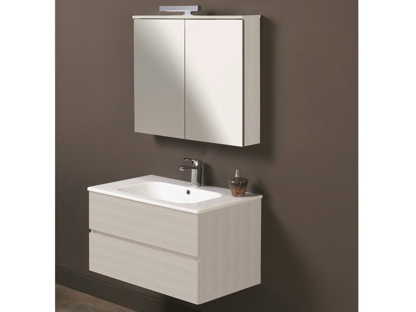Vanity unit with drawers with mirror HD.13 by Mobiltesino