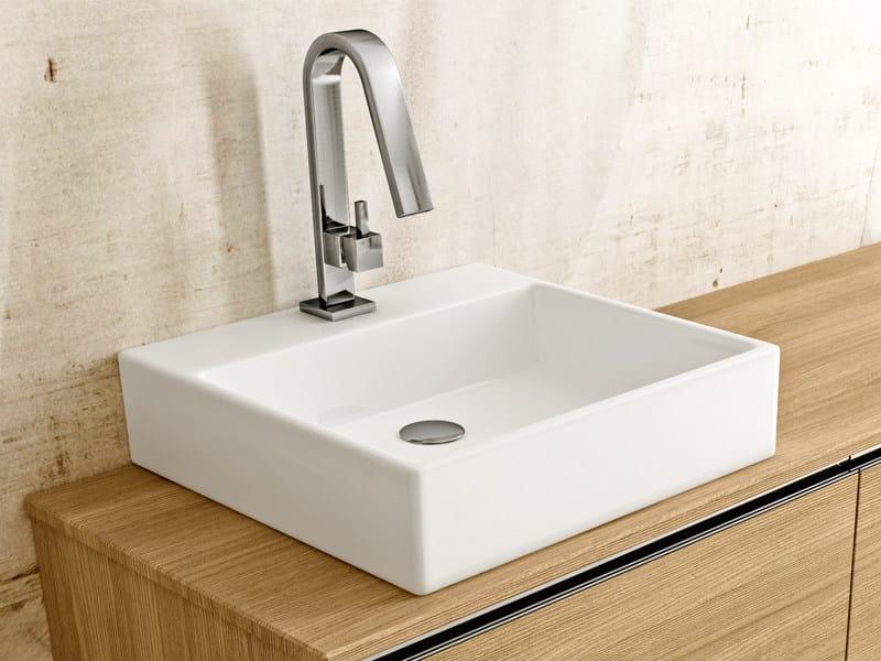 Countertop rectangular ceramic washbasin BOX by Edoné by Agorà Group