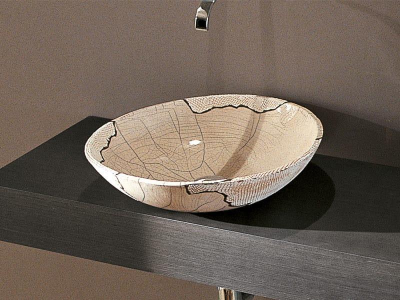 Countertop round ceramic washbasin RAKU by Edoné by Agorà Group