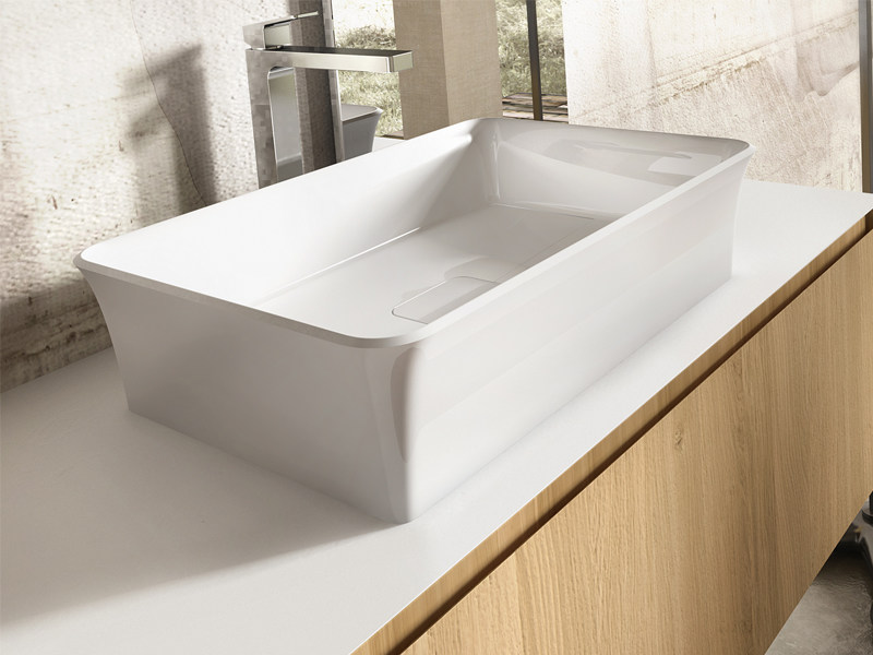 Countertop rectangular washbasin AFRODITE by Edoné by Agorà Group
