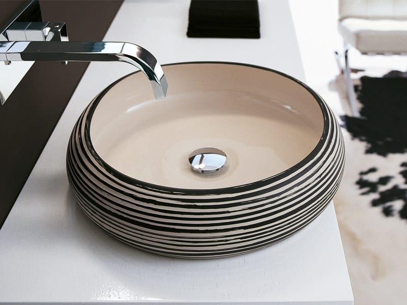 Countertop round porcelain washbasin ZEBRA by Edoné by Agorà Group
