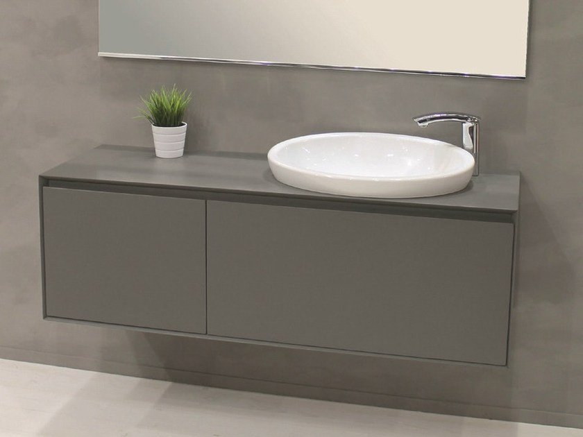Wall-mounted vanity unit with doors LU.35 by Mobiltesino