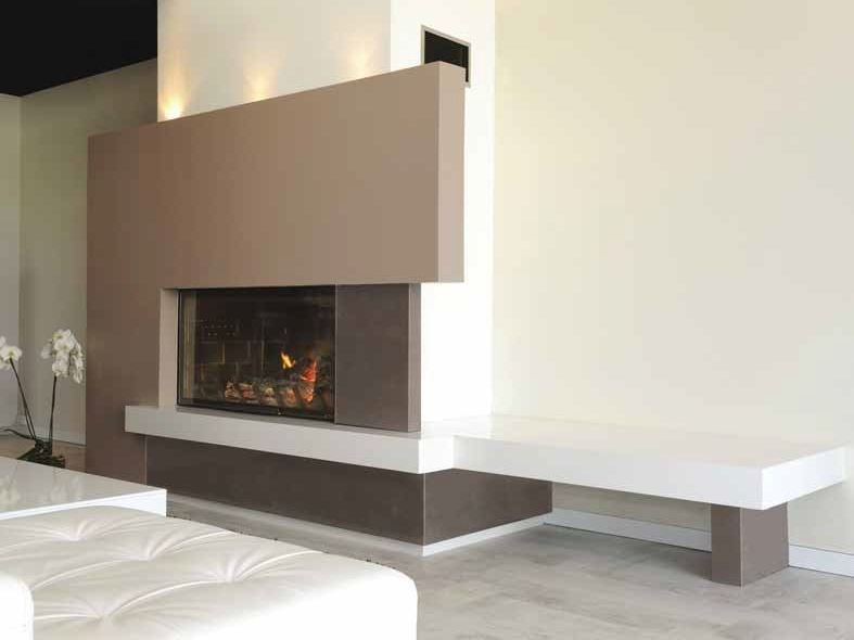 Wood-burning built-in wall-mounted fireplace KENSHO by CHEMINEES SEGUIN