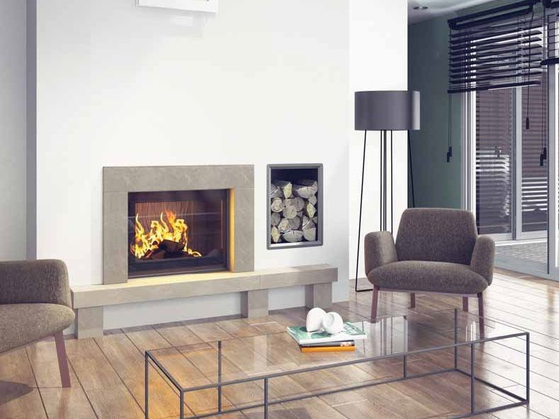 Wood-burning built-in wall-mounted fireplace NAMAKA by CHEMINEES SEGUIN